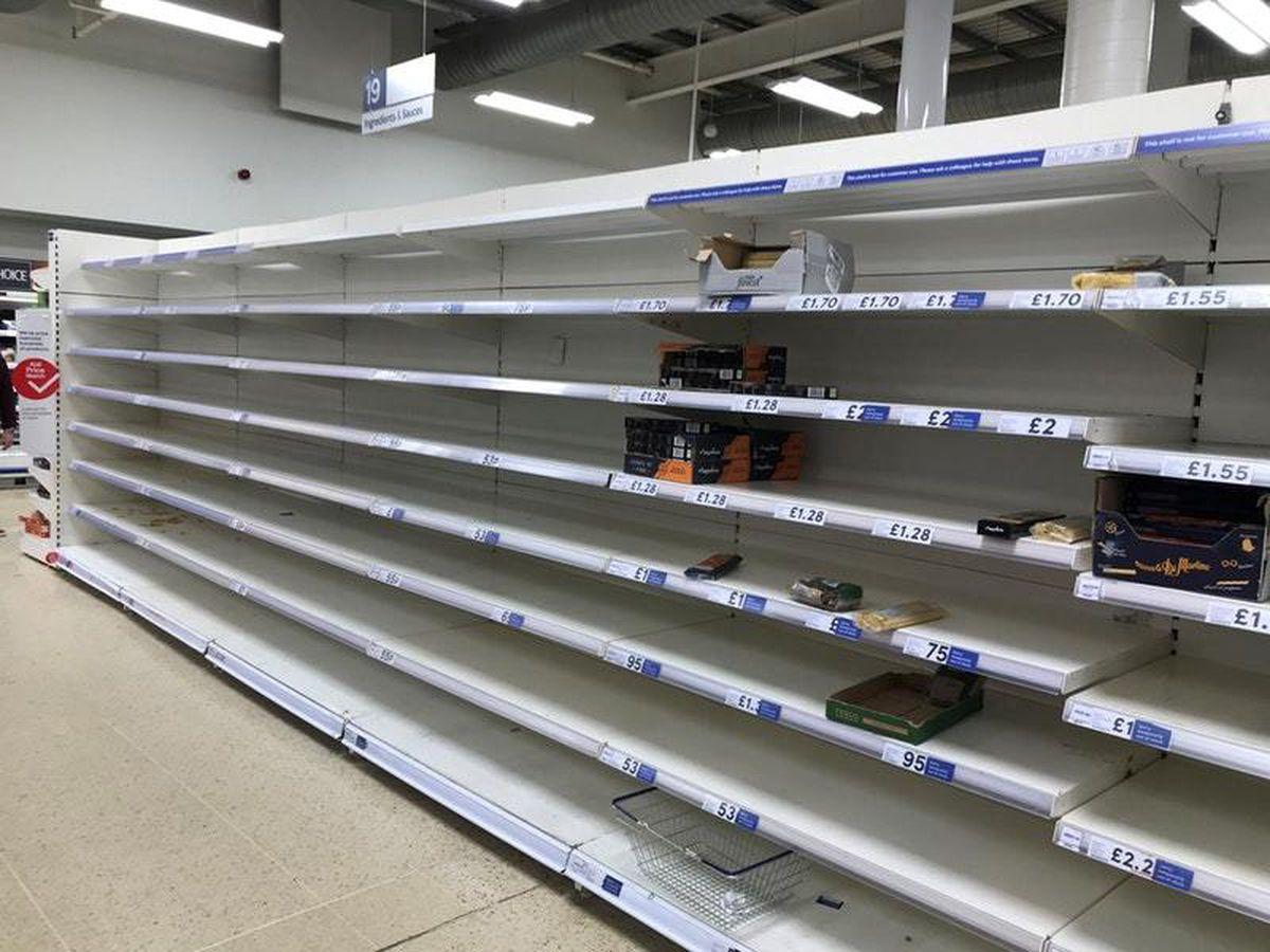 Empty shelves at Tesco