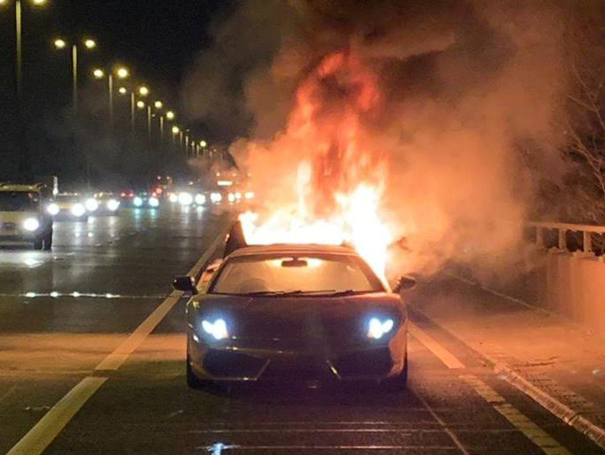 Watch: Lamborghini wrecked in M6 fire
