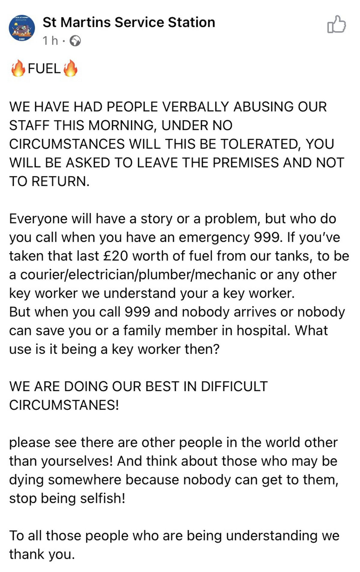 The message on Facebook about abuse directed at staff at St Martins Service Station