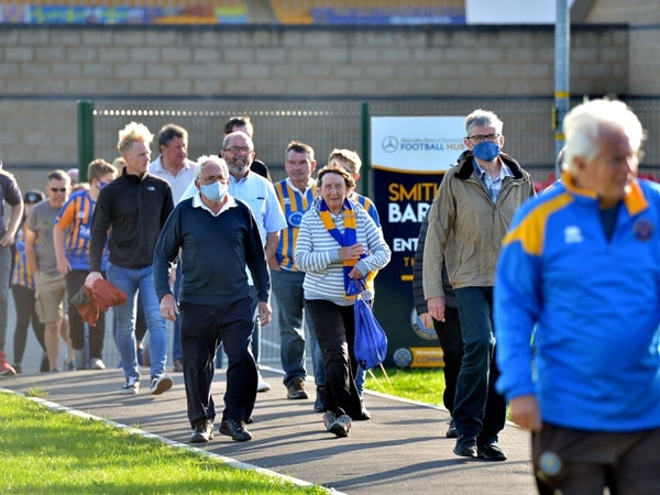 Shrewsbury Town fans return to the Meadow for first time in nearly 200 days - with PICTURES and VIDEO