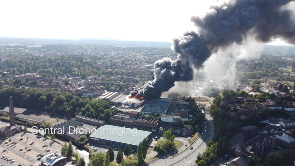 Drone photos showing the blaze in Park Street, Kidderminster. Photo: Central Drone Imagining