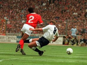 SOCCER Gascoigne filer 2...File photo dated 18/5/91 of Tottenham Hotspur's Paul Gascoigne injuring his knee during a heavy tackle on Nottingham Forest's Gary Charles in the F.A. Cup final at Wembley. Gascoigne was stretchered off the pitch at the Riverside Stadium tonight, Monday February 14, 2000, after breaking his arm in a Premiership match against Aston Villa. PA photo: Malcolm Croft.