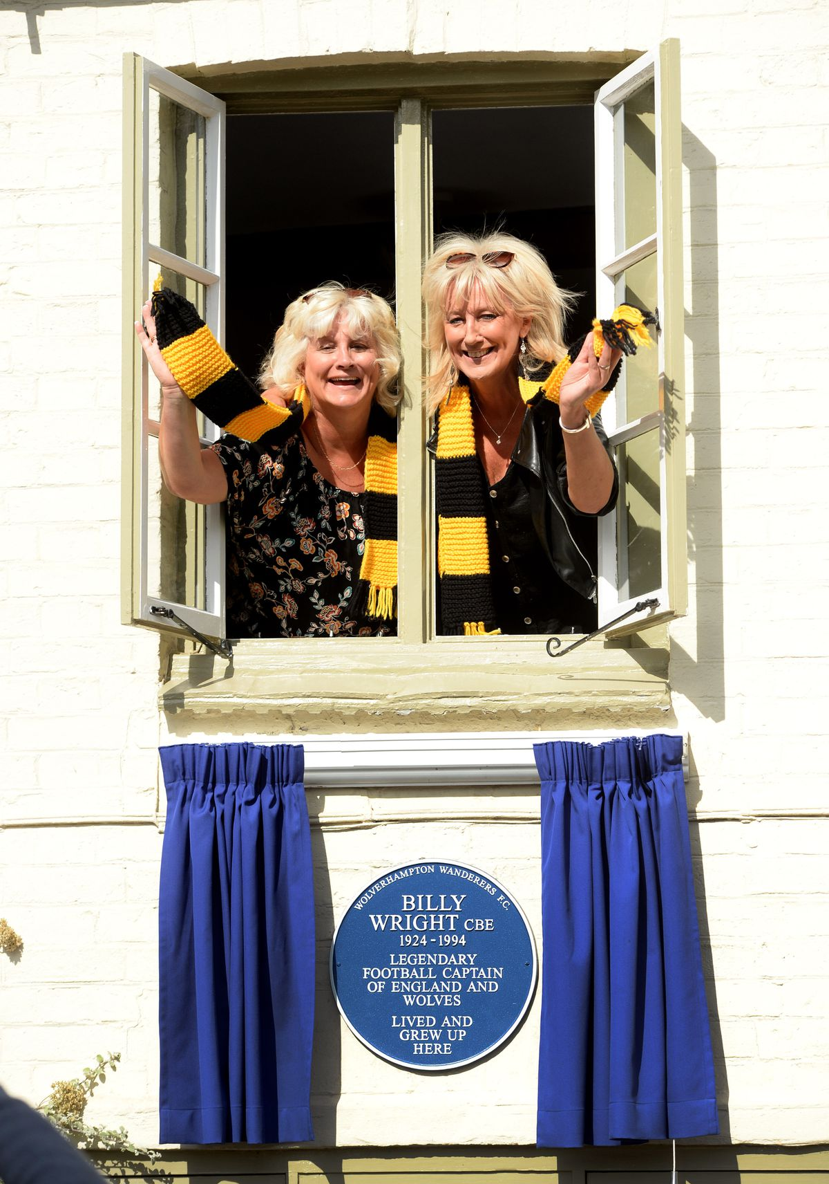 Billy Wright's daughters Vicky and Babette with the plaque