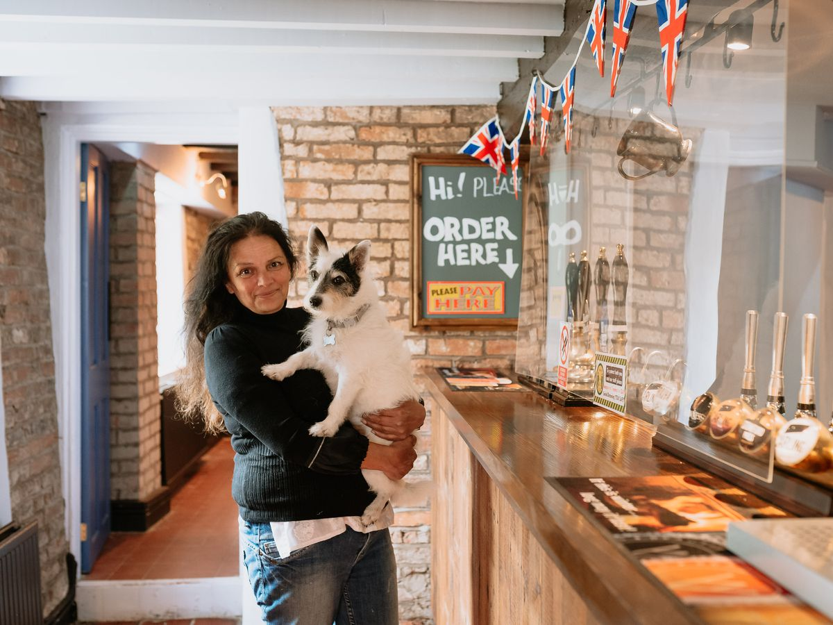 The Boat Inn, near Ironbridge has been devastated over the years with flooding. They were hit twice in February 2020 and have only just opened since after a major renovation. In Picture: Licensee Jenny Cambridge