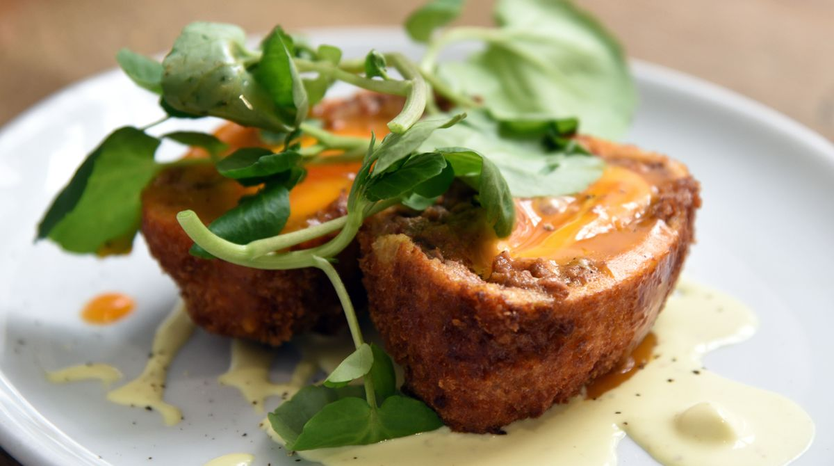 Eggs-cellent idea – beef and chorizo Scotch bantom egg with English mustard velouté