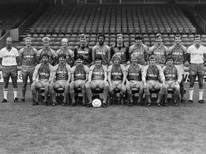 Popular former Shrewsbury fans' favourite Wayne Williams, pictured front, second left, has passed away aged 56.SHREWSBURY TOWN 1984-85BACK FROM LEFT; DEREK MANN (PHYSIO), STEVE CROSS, MARK BATES, PAUL TESTER, STEVE PERKS, ANDY KERR, RON GREEN, GARY STEVENS, NIGEL PEARSON, COLIN GRIFFIN, CHIC BATES (MANAGER)FRONT; COLIN ROBINSON, WAYNE WILLIAMS, GERRY NARDIELLO, ROSS MACLAREN, GERRY HACKETT, KEVIN COLLINS, PAUL PETTS, BERNARD MCNALLY.