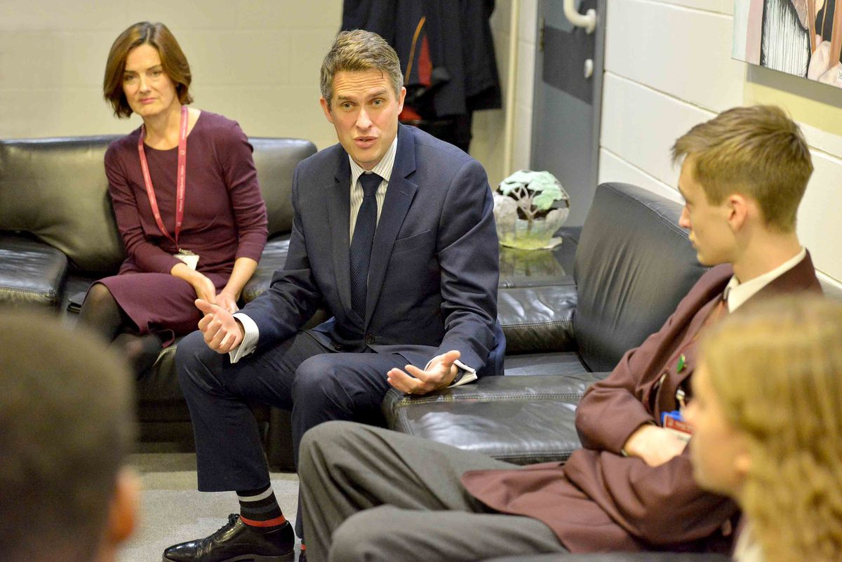 Telford MP Lucy Allan looks on as Education Secretary Gavin Williamson gets a grilling from Thomas Telford pupils including Jacob France, 14