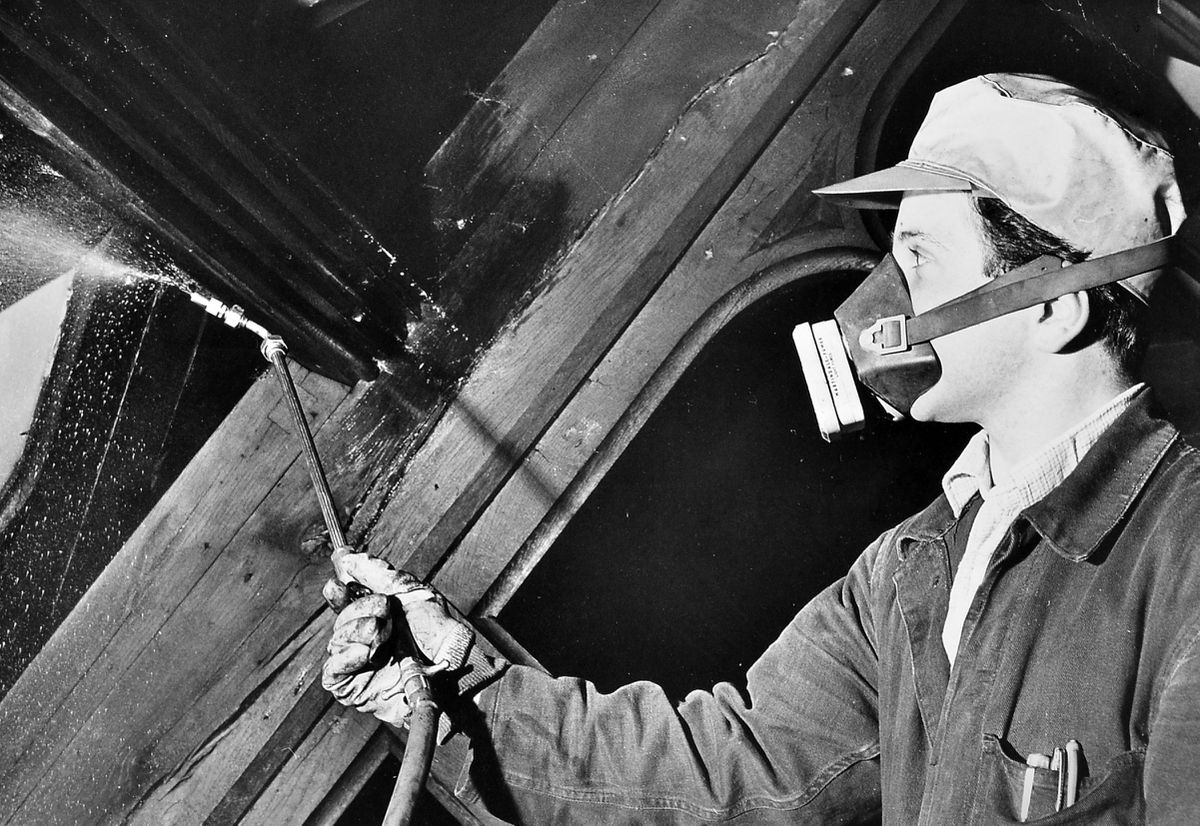 Glad to see you're wearing a face mask... But it was for a different reason back in May 1965, when 27-year-old Tony Weston of Bayston Hill was working for a Midland firm of wood preservists which had been called in to treat timbers at Alberbury Parish Church which had been ravaged by death watch beetle and woodworm.