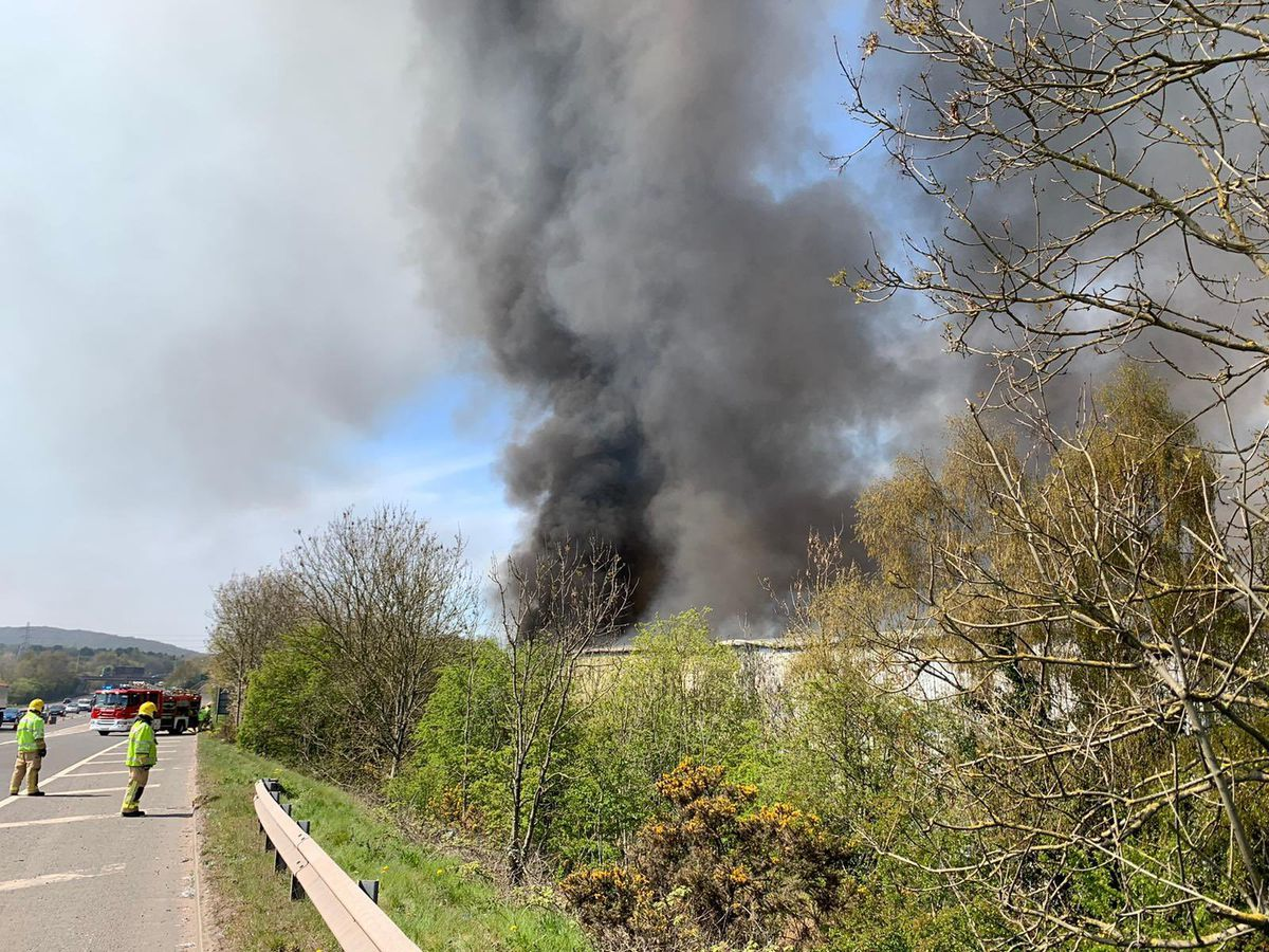 The fire forced lane closures on the nearby M54. Photo: @SFRS_MDrayton