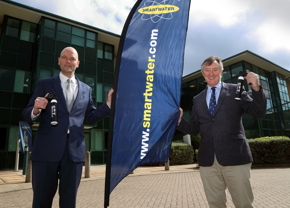 c30a5309 MD Florian Mattinson and CEO Phil Cleary at Smartwater's new HQ in  Partnership House, Central Park, Telford