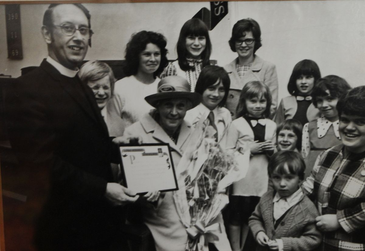 Presentation to the late Ethel Picken for 70 years service in 1974.