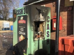 'Burnt to a crisp': Thieves set cash machine on fire near Market Drayton