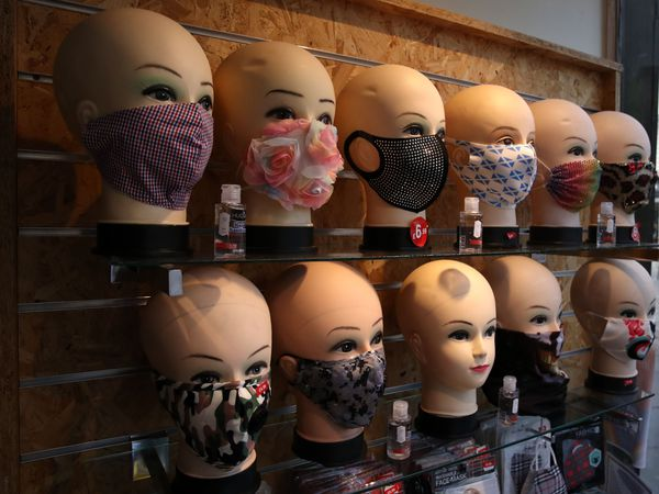 Face masks on display at the Pride of Glasgow shop (Andrew Milligan/PA)