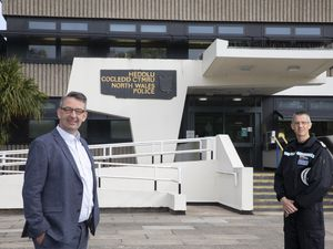 Andy Dunbobbin North Wales Police and Crime Commissioner  pictured with Chief Constable Carl Foulkes