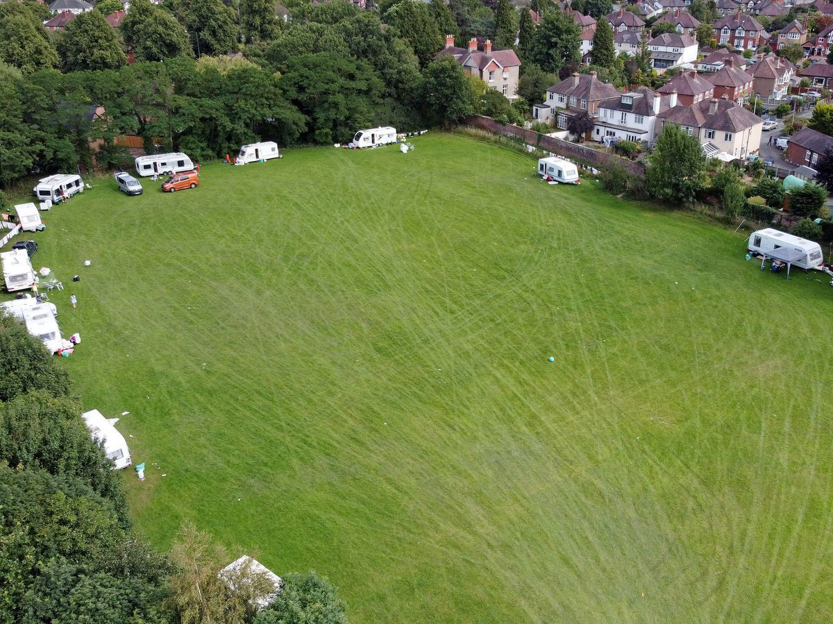An unlawful encampment was set up on a playing field off Shorncliffe Drive in July