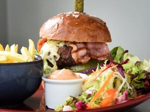 The 8oz Morville beef burger at the Woodberry Inn
