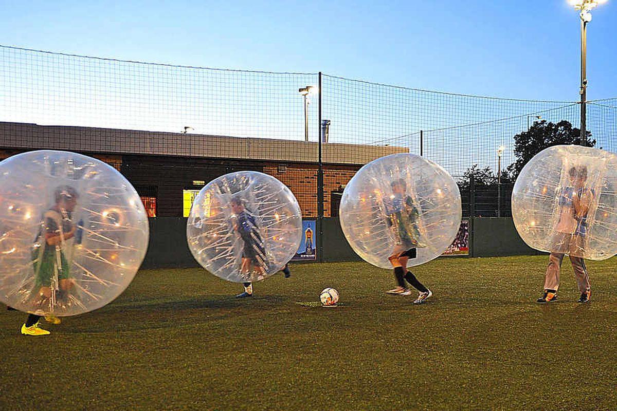 Ed's having a ball as bubble football hits Shropshire