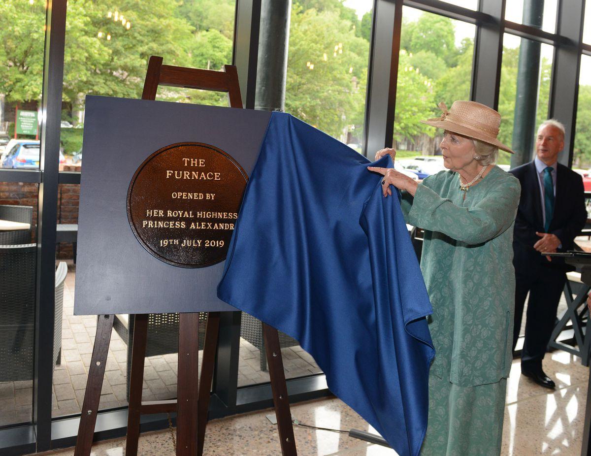 Princess Alexandra unveils a plaque at The Furnace Kitchen, Coalbrookdale