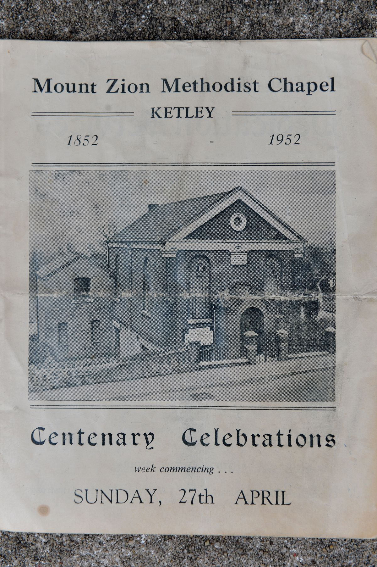 Programme marking the 1952 centenary of the old Mount Zion chapel which is still standing, in Holyhead Road.