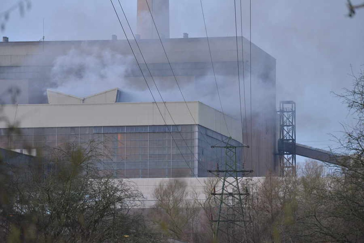 Smoke pouring from Ironbridge Power Station