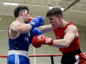 WALSALL COPYRIGHT EXPRESS&STAR TIM THURSFIELD- 02/02/20.University of Wolverhampton, Walsall campus, hosted a national student boxing championship for the second year running. .In action are Ed Bowden from Bristol and Alessandra Masetti Placci from Edinburgh...