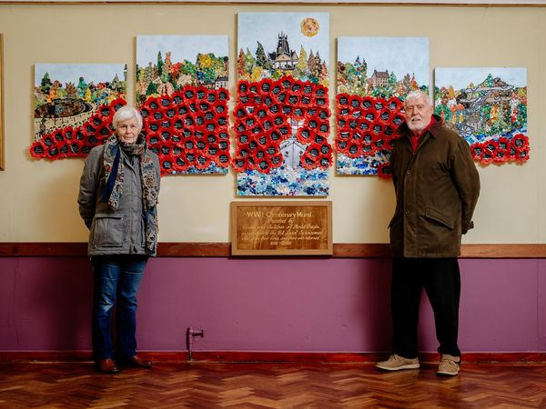 Writer Pru Stones and Beacon Community Centre chair George Edwards with the mural, which is being inducted into the Imperial War Museum's new project