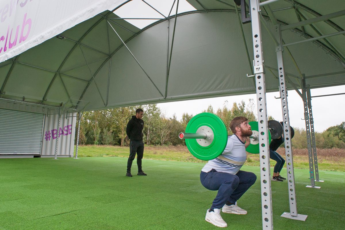 The Shrewsbury Club's new #BASE outdoor boot camp area being used after opening on National Fitness Day.