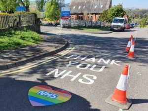 New road markings have been painted outside county hospitals including here at Ludlow Community Hiospital thanking NHS workers