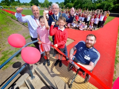 Paralympian Mickey Bushell opens new track at Telford school - with video and pictures