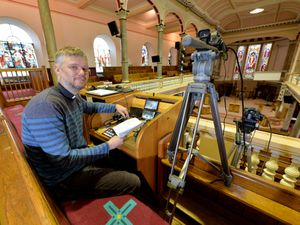 Rev Tim Carter is ready to stream the church service again from All Saints Church, Wellington