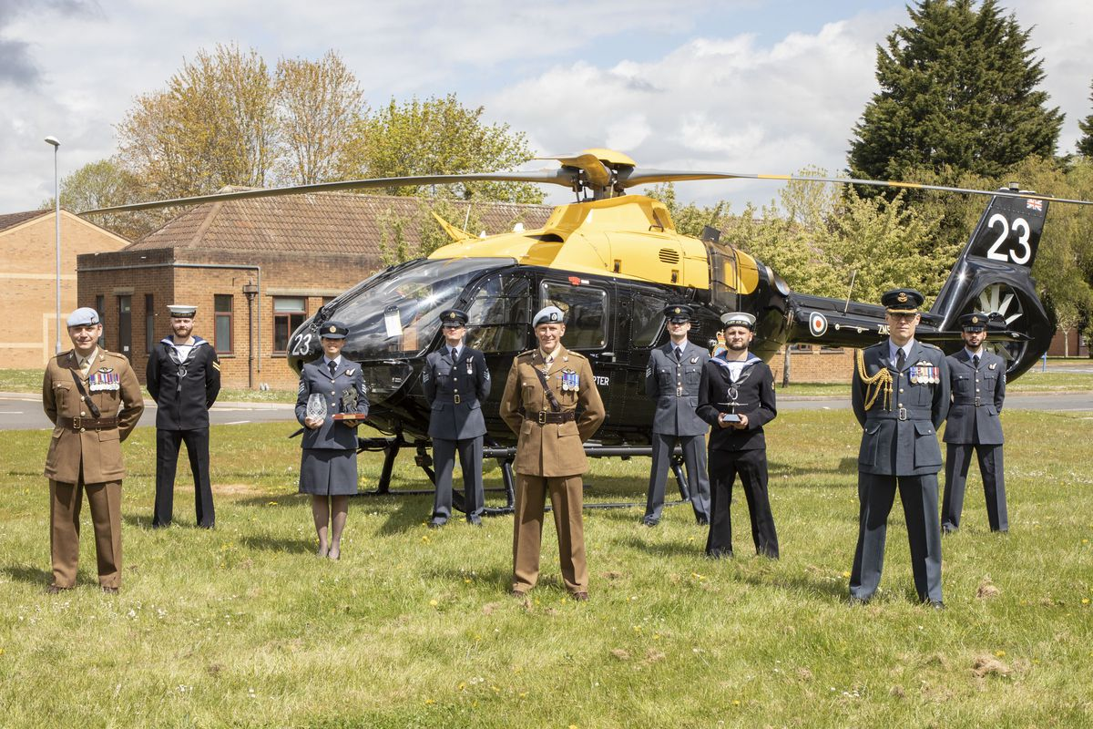 Graduates from the ceremony with Colonel Tim Peake. From left, Lt Col Pearce, Leading Hand Simms, Sgt Watson, Sgt Blay, Col Peake, Sgt Field, Leading Hand Hooper, Gp Capt Wadlow and Sgt Thorne.