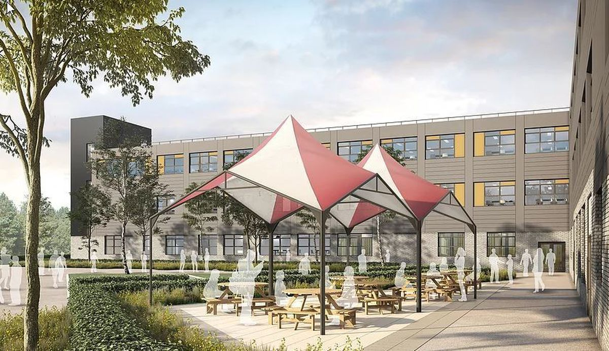 How the new outdoor dining and recreation area might look at Belvidere School in Shrewsbury
