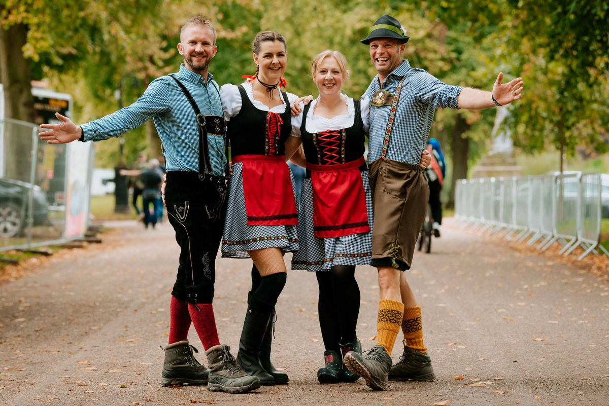 James Renton, Jackie Yeomans, Sue Bromley and Dave Bromley dress authentically for the Oktober Festival
