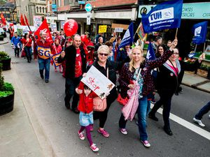 Hundreds join Shrewsbury march to protest over school funding changes - pictures and video