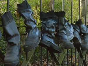 Workers hung their boots from the gates when the foundry closed
