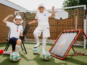 Granaldo, aka Violet Slater from Telford, and grandson Kodi Slater are backing England to beat Italy
