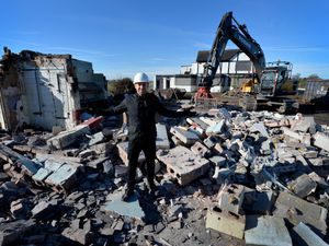 Thomas Mann outside what remains of the Lea Manor Hotel, which is now being demolished