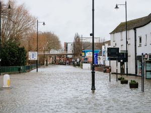 The floods closed major routes into Shrewsbury town centre.