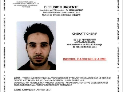 Suspect in Strasbourg Christmas market shooting still at large