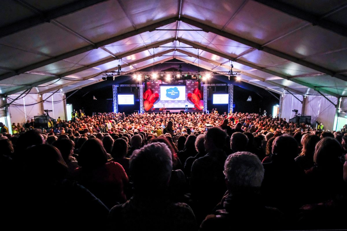 Crowds at a previous Hay Festival event. Photograph by Christopher Bone (Hay Festival).