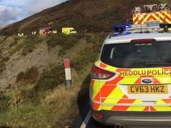 Van plunges 200 metres down Mid Wales mountainside