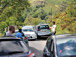 The traffic chaos on the waterfall road