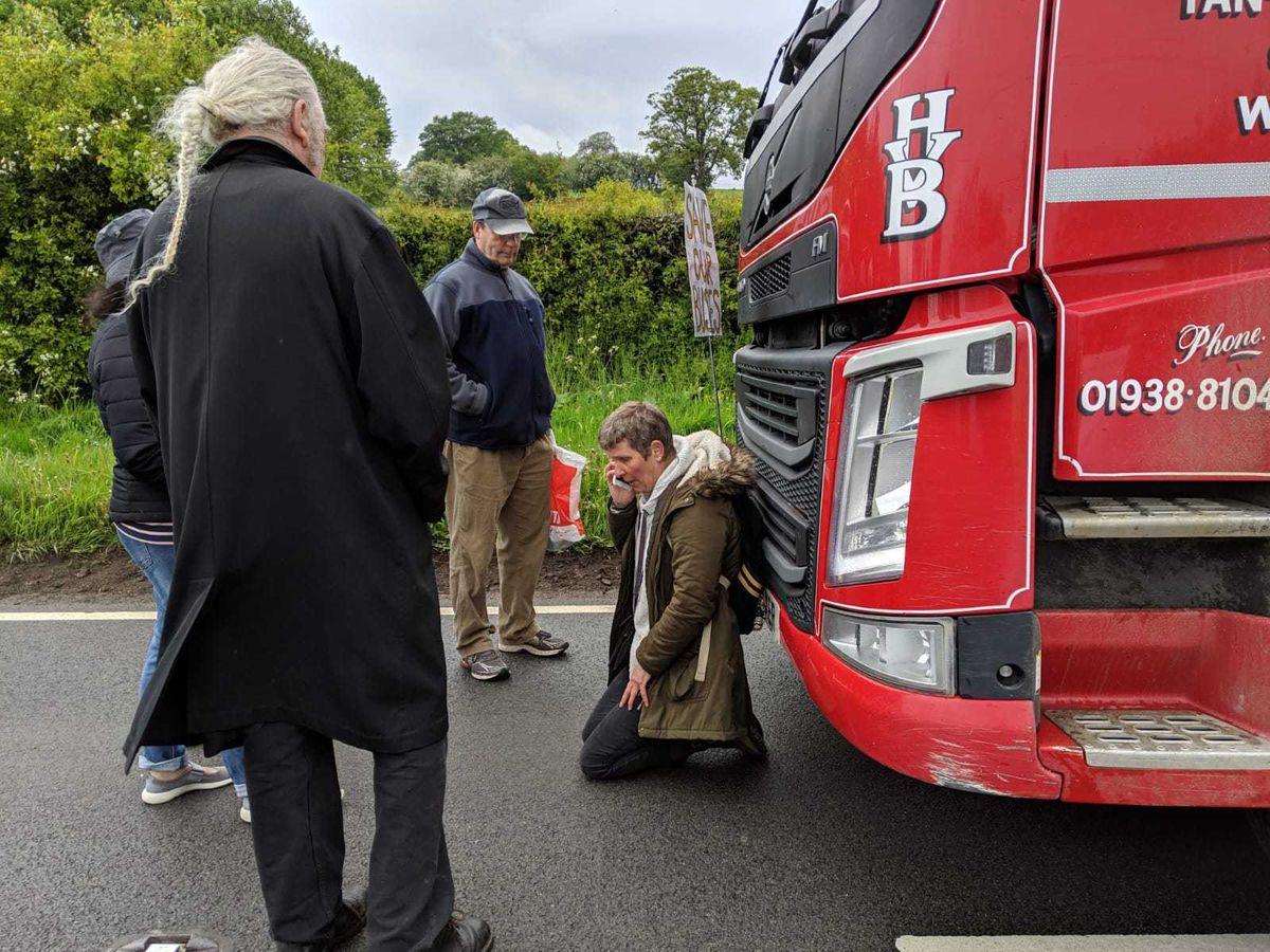 Sarah halts a lorry