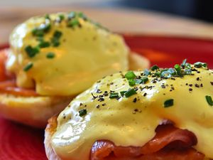 The eggs with salmon and hollandaise