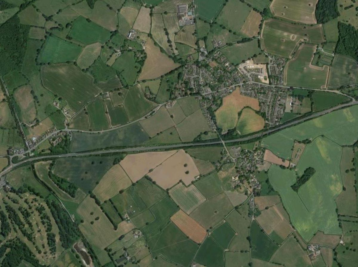 An aerial view showing the A5 at West Felton. Photo: Google