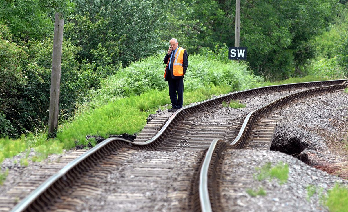 Floods on the Severn Valley Railway. John Leach takes a look at the damaged track near Highley station