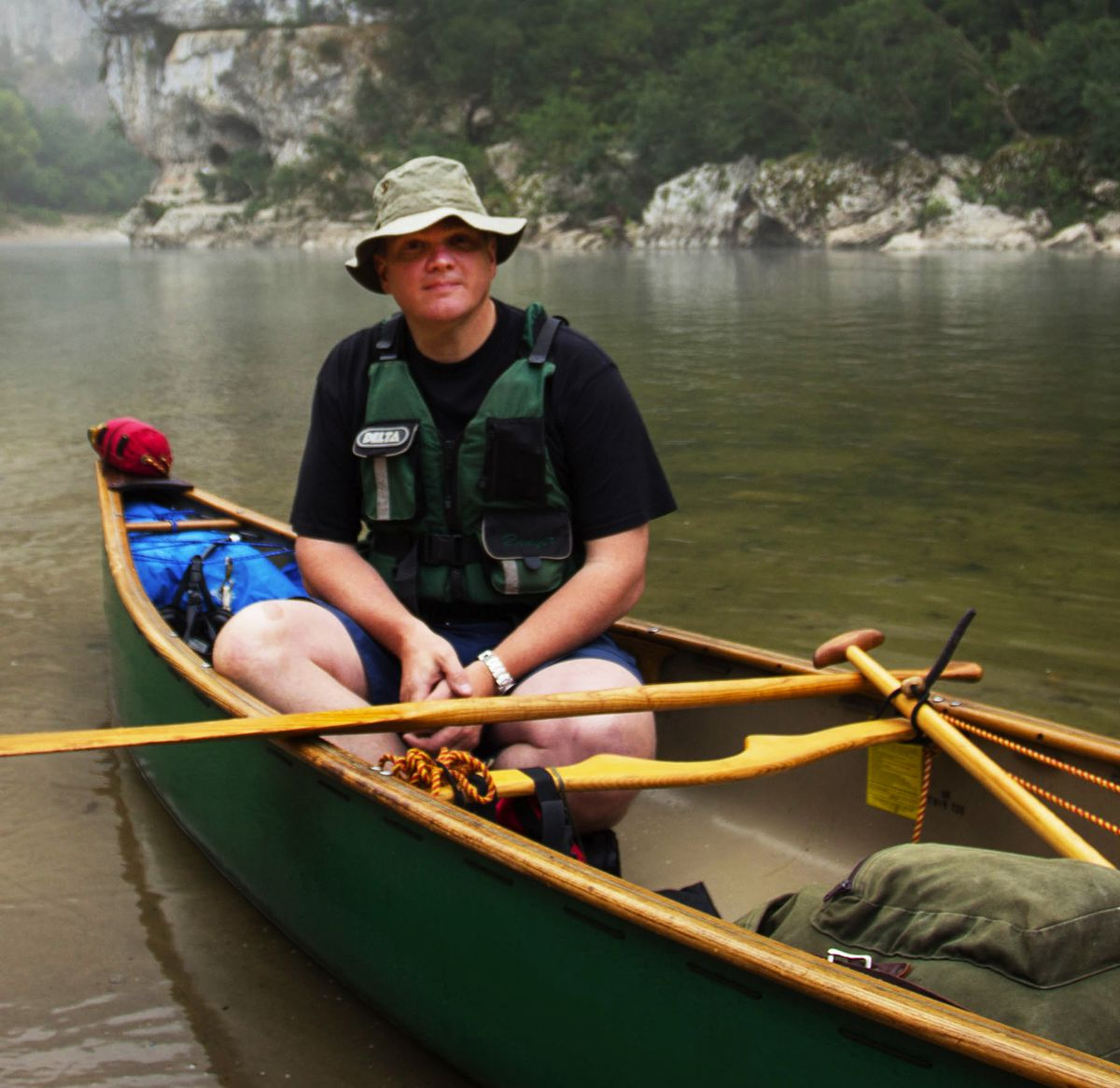 One man in a boat – Ray on one of his adventures
