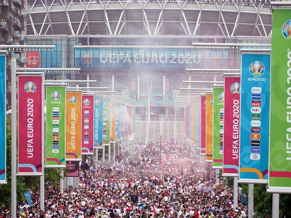 England fans along Wembley Way ahead of the Uefa Euro 2020 final
