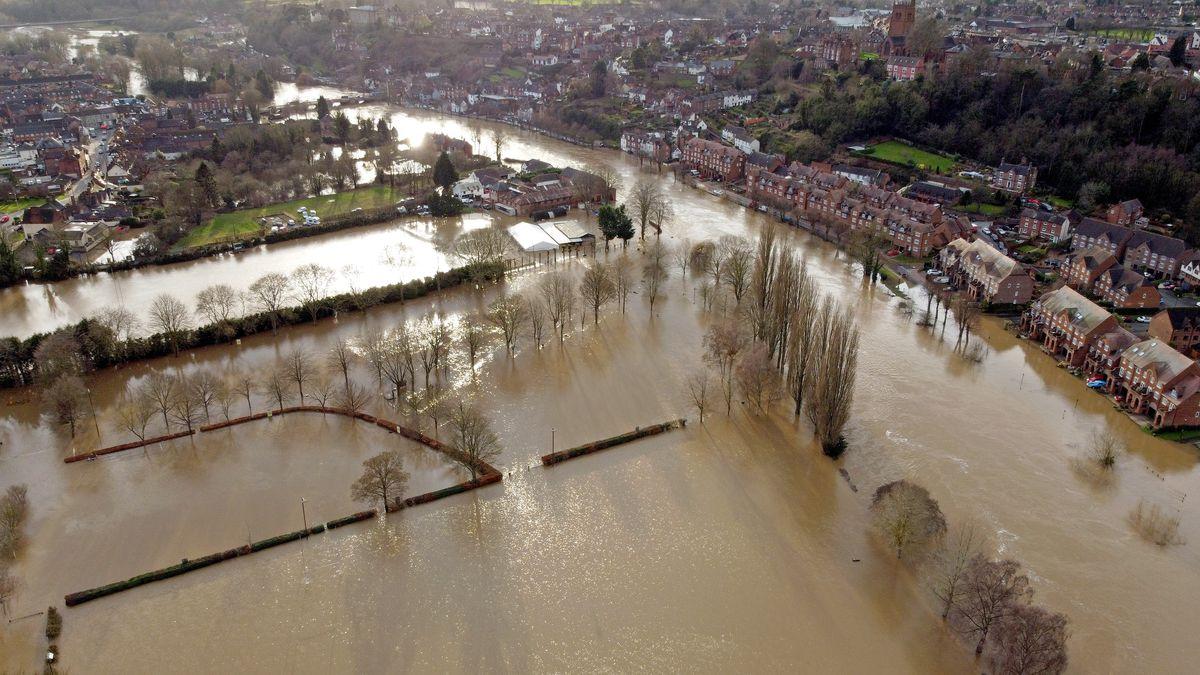 Flooding around Severn Park in Bridgnorth