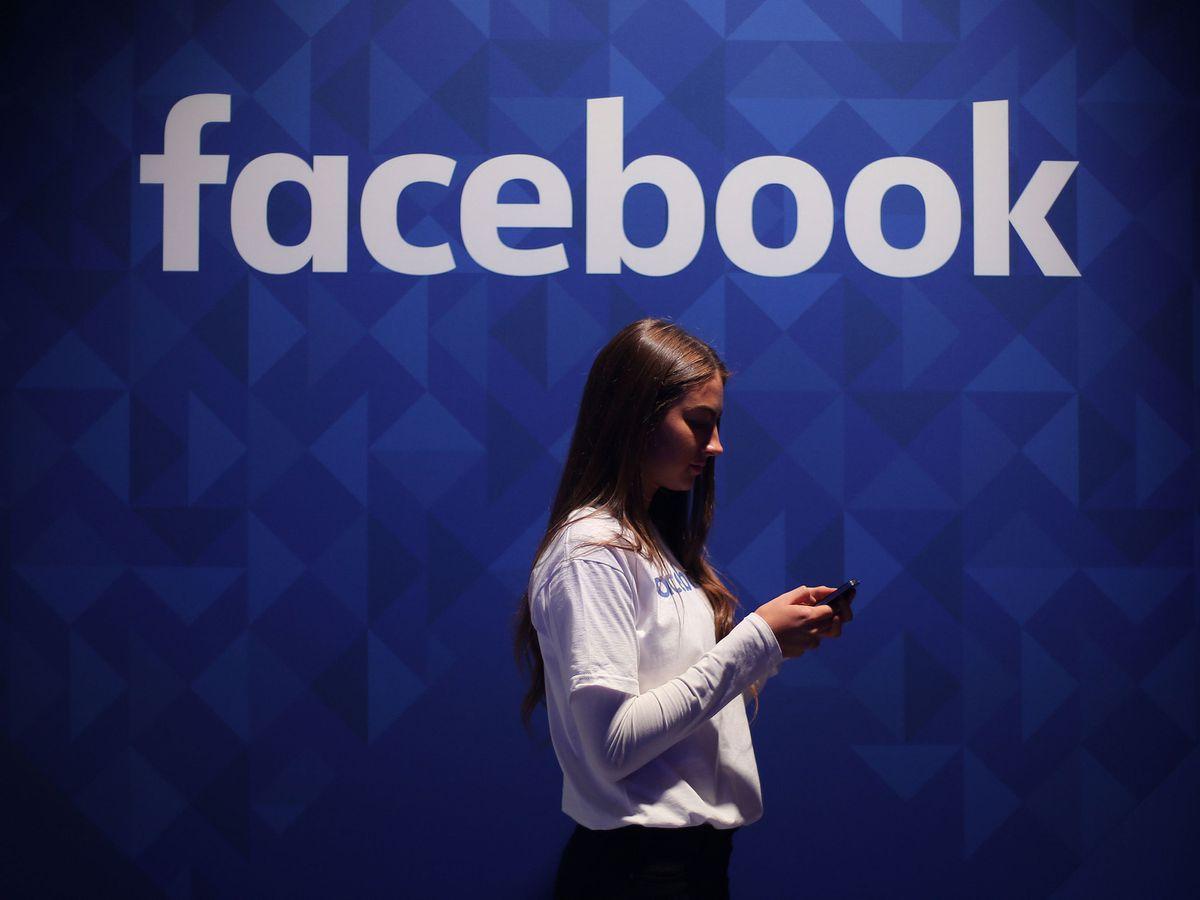 Woman and Facebook logo
